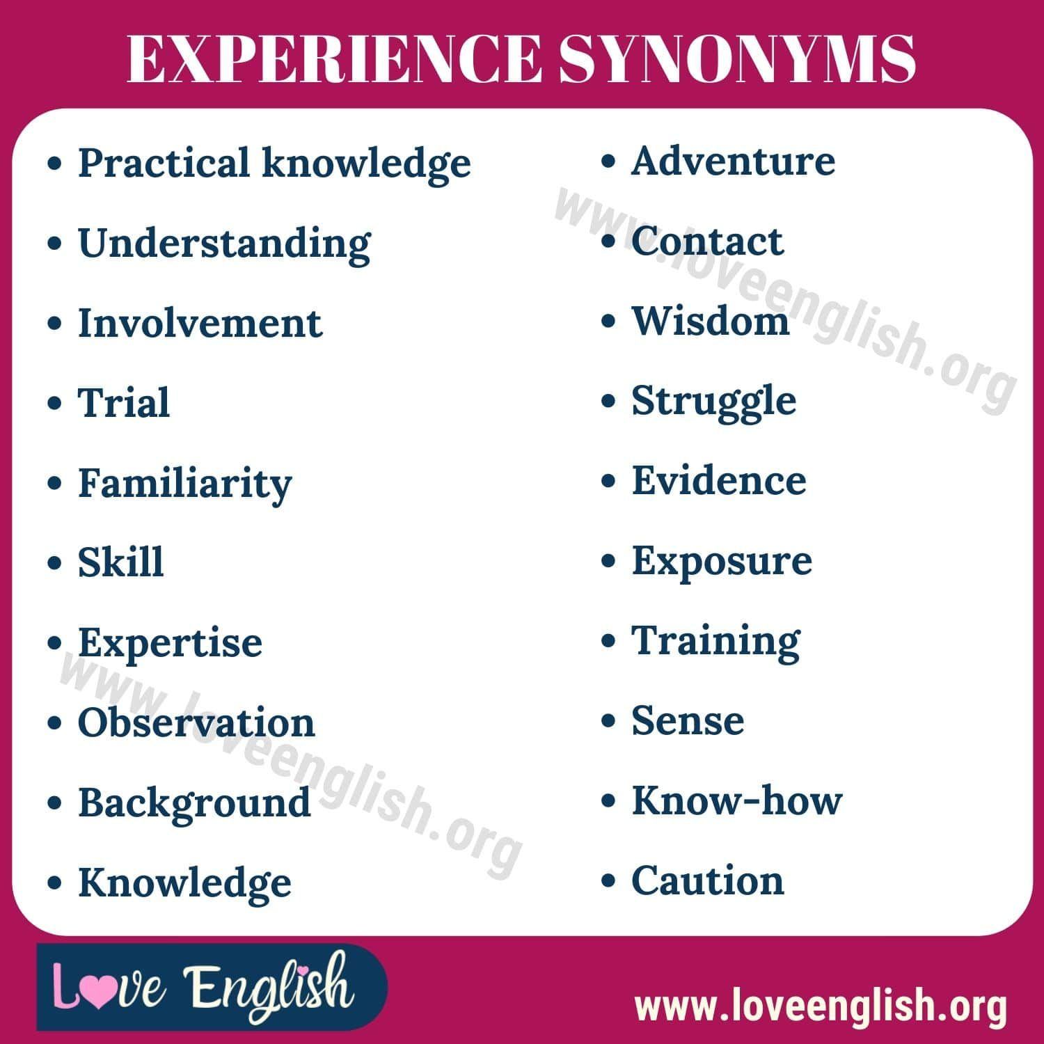 Experience Synonym 20 Common Synonyms For Experience In English Love English In 2021 Writing Words Another Word For Experience Synonym