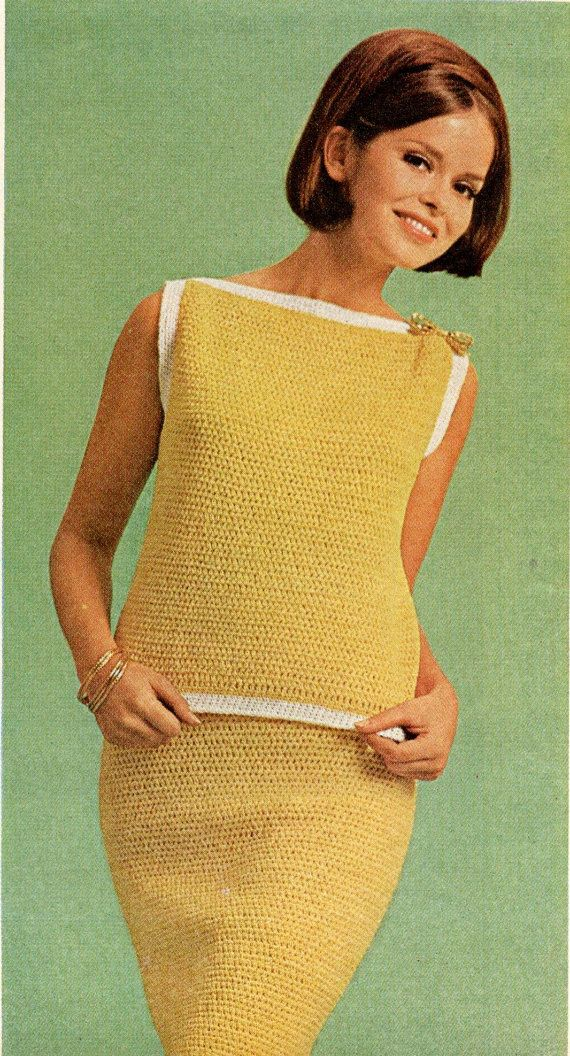 Vintage Crochet Pattern Ladies Top Skirt Set Boat Neck Line Straight