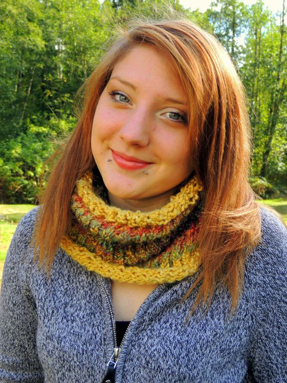 Loom Knit Cowl In Harvest Colors And Mustard Zoes Sewing Projects