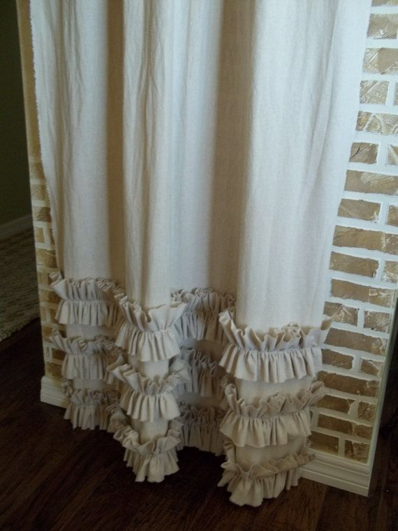 Tattered Ruffles Curtain Panel In Flax By Simplyfrenchmarket 72 00 S Nursery