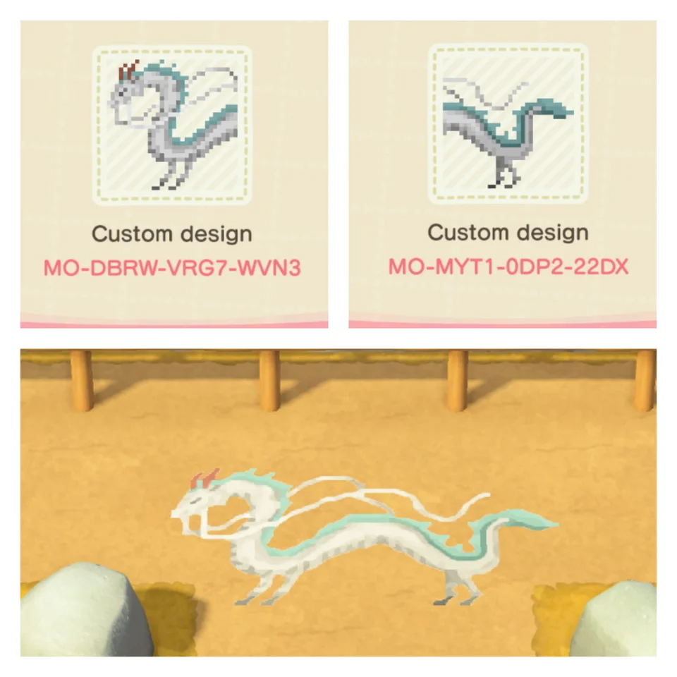 I Made Haku In Dragon Form From Spirited Away Great For Any Ghibli Island Acqr In 2020 Animal Crossing Animal Crossing Town Tune Animal Crossing 3ds