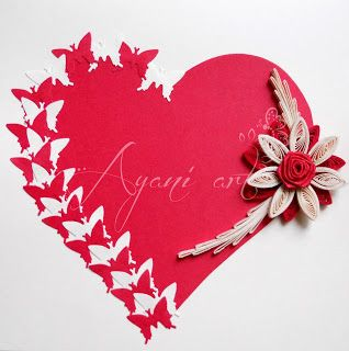 Quilled butterfly valentine card also paper art pinterest quilling rh