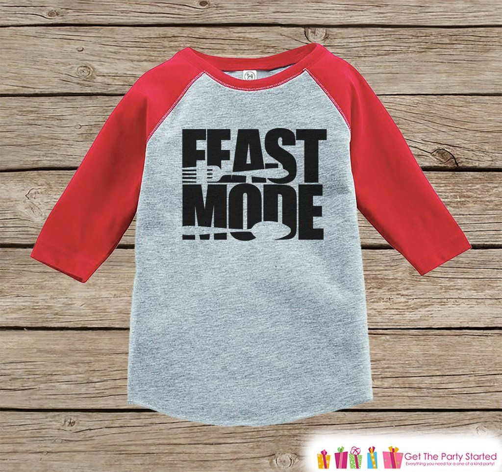 1aac1acd Kids Thanksgiving Outfit - Feast Mode Shirt - Boy or Girl Thanksgiving  Outfit - Red Raglan Tshirt or Onepiece - Thanksgiving Dinner Shirt