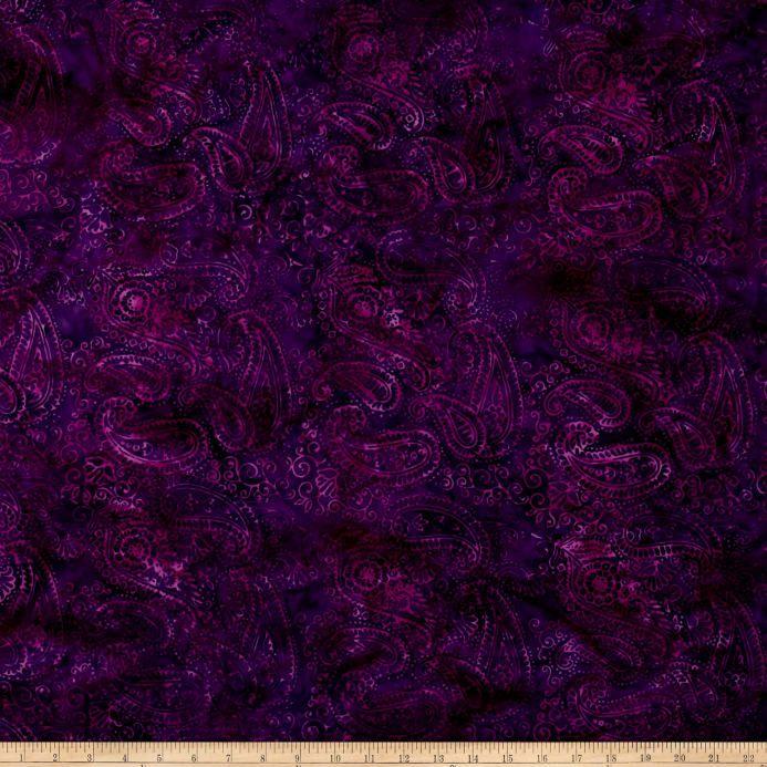 Island Batik Rayon Challis Purple Paisley Purple