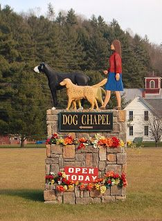 Dog Chapel Sign, Dog Mountain Entrance. 2013, by Dawn Frost. attribution 2.0 generic