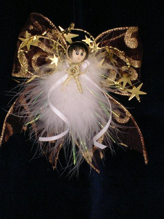 Buy Angelica - Christmas Angel, Handmade, Xmas Angel, Feather Angel, Xmas Ornament, Christmas Tree Ornament, Holiday Ornament, Victorian Angel by angelsofheaven. Explore more products on http://angelsofheaven.etsy.com