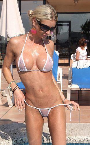 Blonde sheer bikini Hot