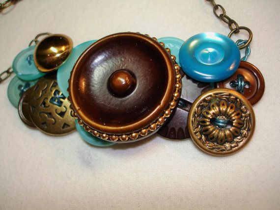 SOLD...SPARKLE and SHINE -Reserved for Susan -Button Necklace - Vintage button jewelry - Gold metal buttons -Deep Brown - Aqua Blue