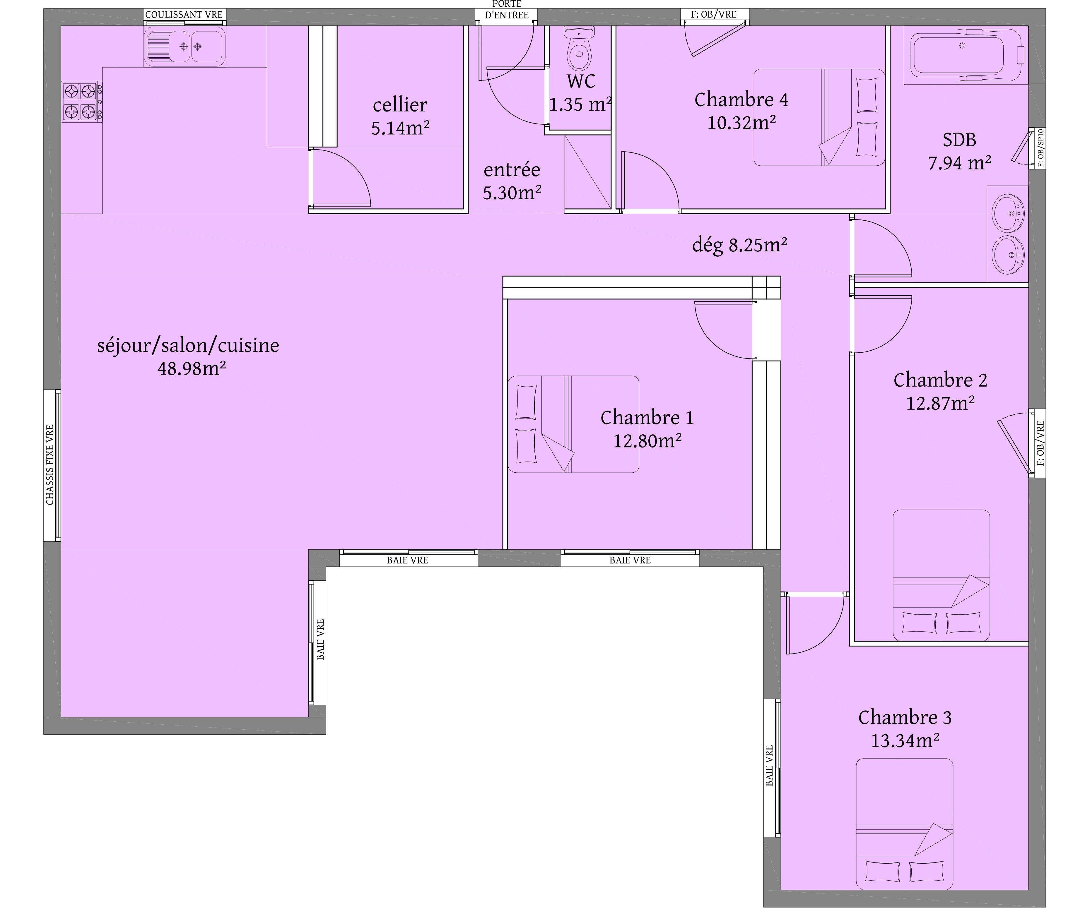 126 m² 4 chambres Plain Pieds plan maison