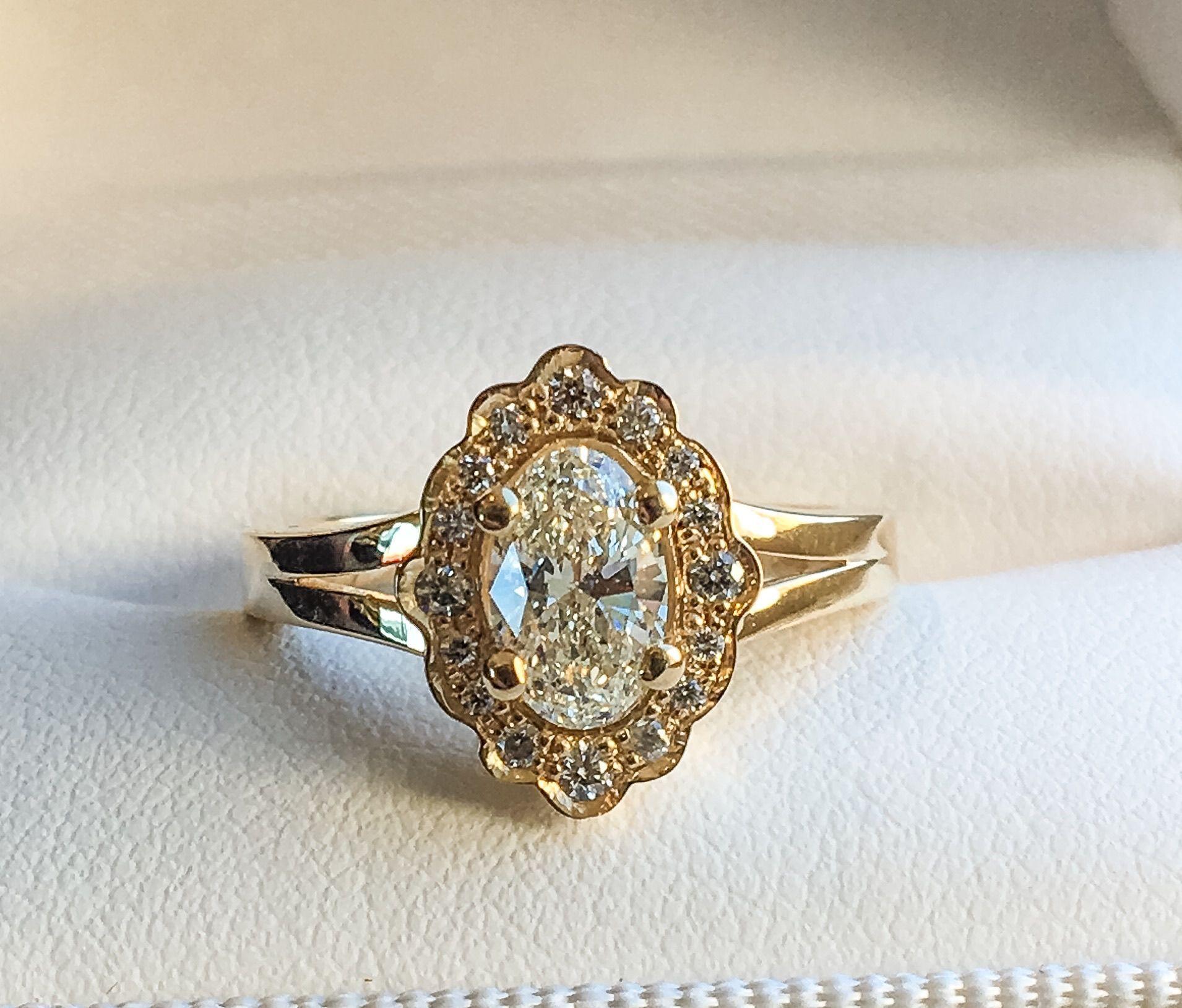 Custom Made 14k Yellow Gold Unique Halo Style Engagement Ring Set