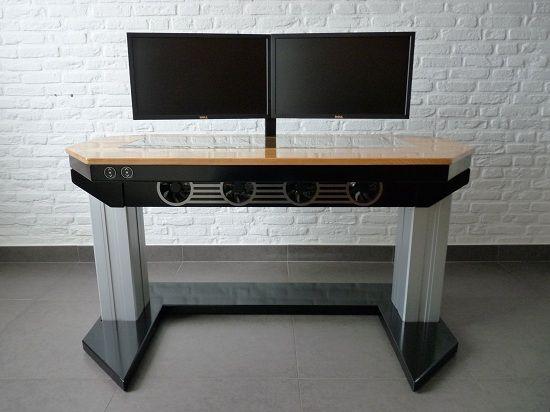 Illustration pc écran plat sur une table dans le bureau espace de