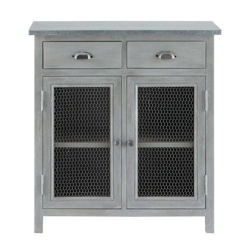Vorratsschrank aus Hevea-Holz, L 80 cm, grau Meine Traumküche - meuble en bois repeint