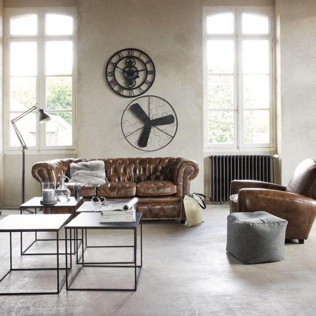 Canapé Chesterfield Salon Living Room Pinterest Canapés - Canapé 3 places pour decoration salon cuir noir