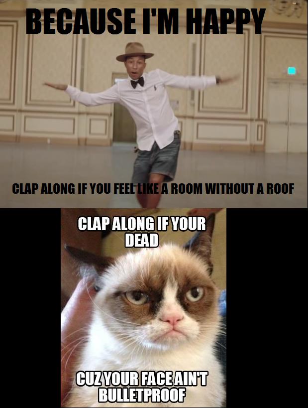 Grumpy Cat And Pharrell Xd Funny Cat Memes Funny Grumpy Cat Memes Angry Cat Memes