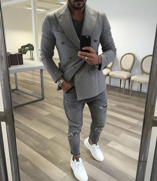 dress it down double breasted blazer ripped denim sneakers menswear mens fashion mens. Black Bedroom Furniture Sets. Home Design Ideas