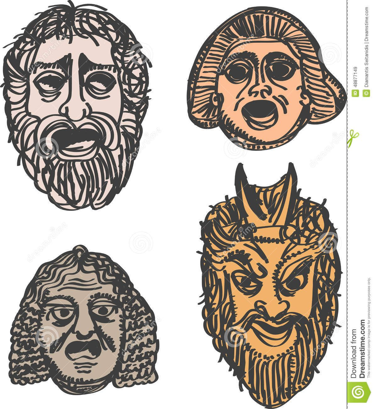 Classical ancient greek drama masks intermediate school for Ancient greek mask template