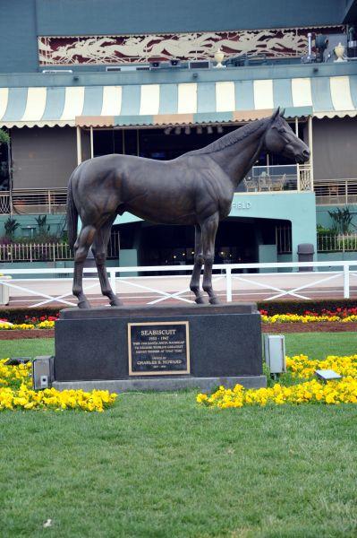 Seabiscuit Statue At Santa Anita Race Track Horses