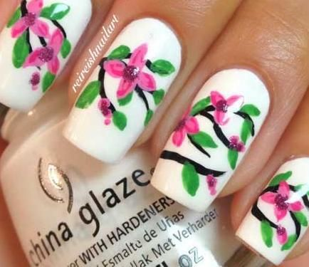 Nail Art Tutorial: Cherry Blossom Nails | Welcome in spring with these bright cherry blossom nails.