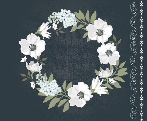Vintage Black And White Floral Wreath Clipart Wedding Invitation