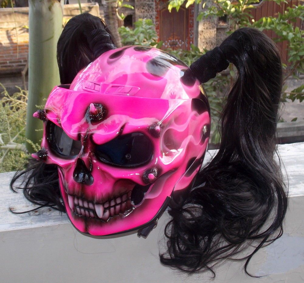 Custom Motorcycle Helmet Skull Dot Girls Helmet Cute
