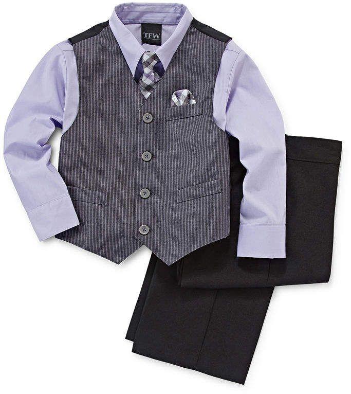 NEW Perry Ellis 4 Piece Dress Shirt Pants Tie Vest Set Boys 2T Toddler Blue//Grey
