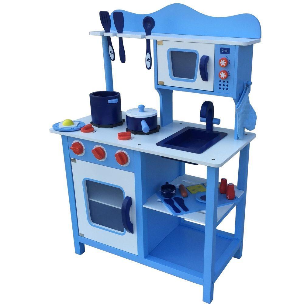 Kinderküche Spielküche BLAU aus Holz Kinderspielküche Spielzeugküche ...