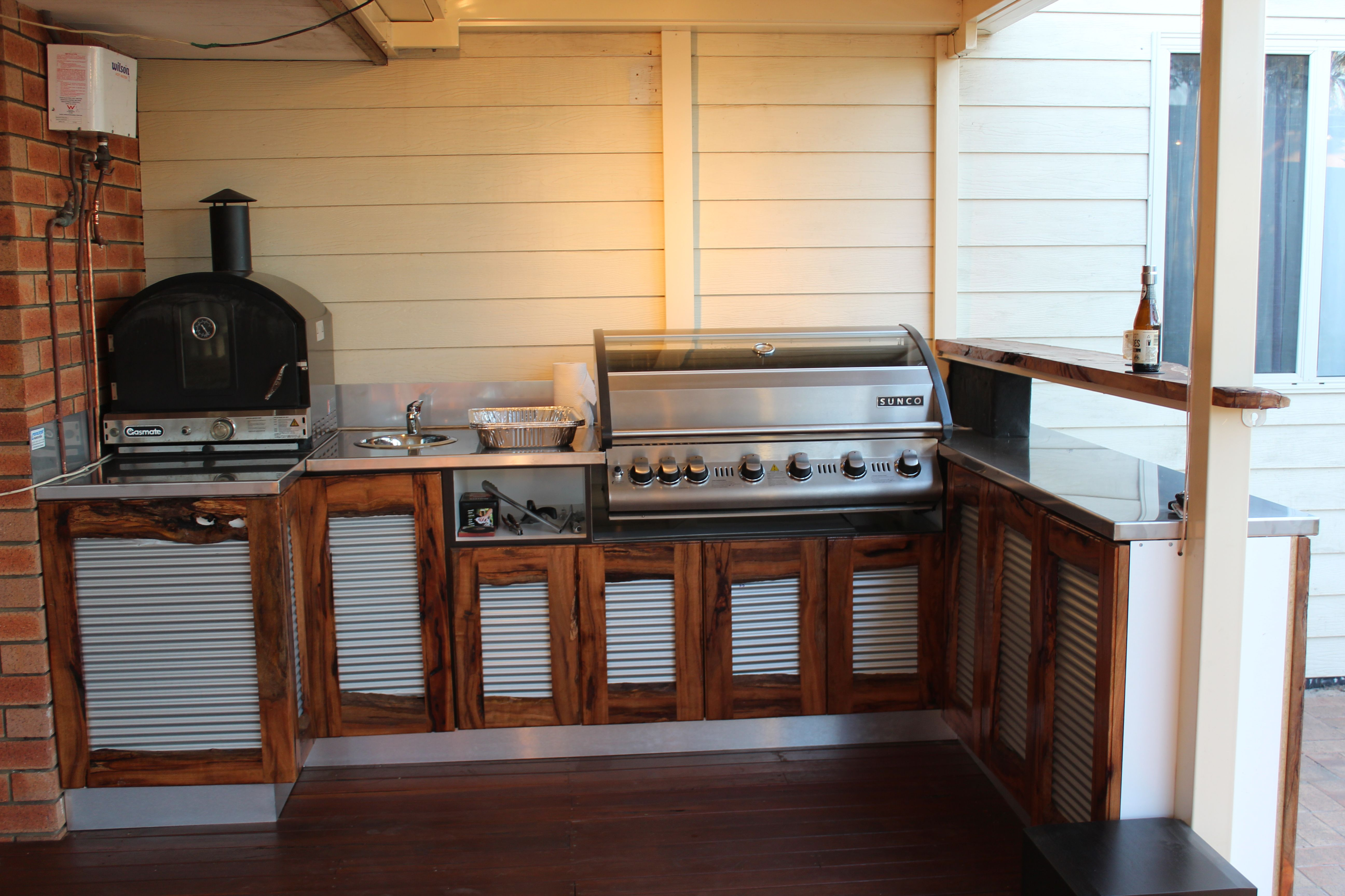 Our Recently Completed Alfresco Area Stainless Bench Tops And Red Gum And Mini Orb Corrugated Outdoor Kitchen Deck Kitchen Ideas Outdoor Kitchen Countertops