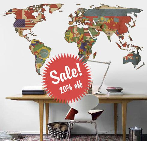 Product details modern design for interiors size overall world map decal vintage flags world map wall decal gumiabroncs Gallery