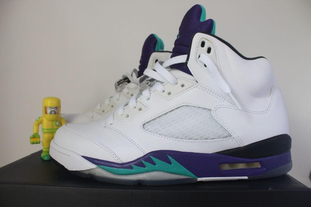 e4d5e074f7cbd2 eBay  Sponsored Air Jordan 5 Retro Grape SZ 10 DS Emerald Purple White  136027-