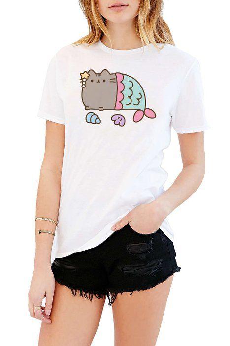 Pusheen The Cat Mermaid Juniors White T shirt M   Schattig