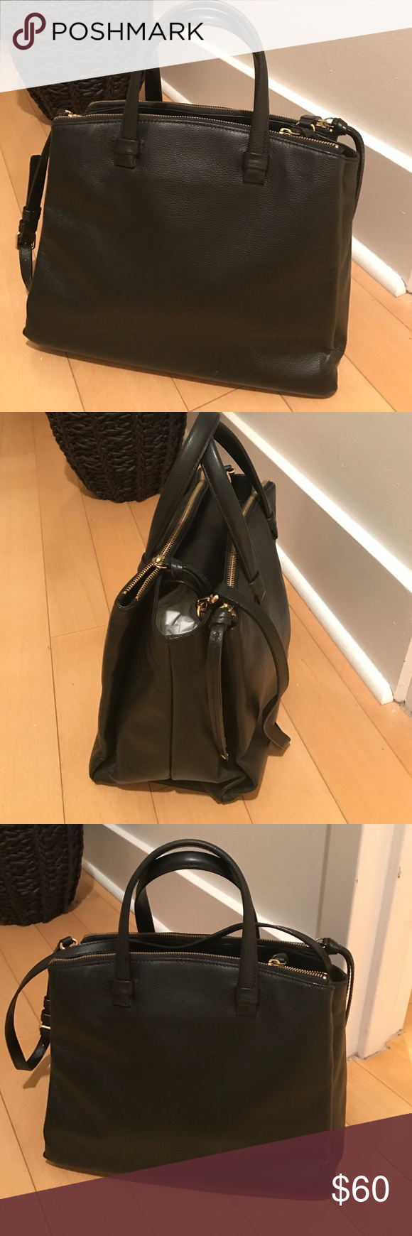 Leather black bag This is a leather , black bag..only used a couple of times .  plenty of room. Two compartments, one on each side, with zipper and the center compartment has a snap.  Really pretty bag and not oversized. Banana Republic Bags Crossbody Bags