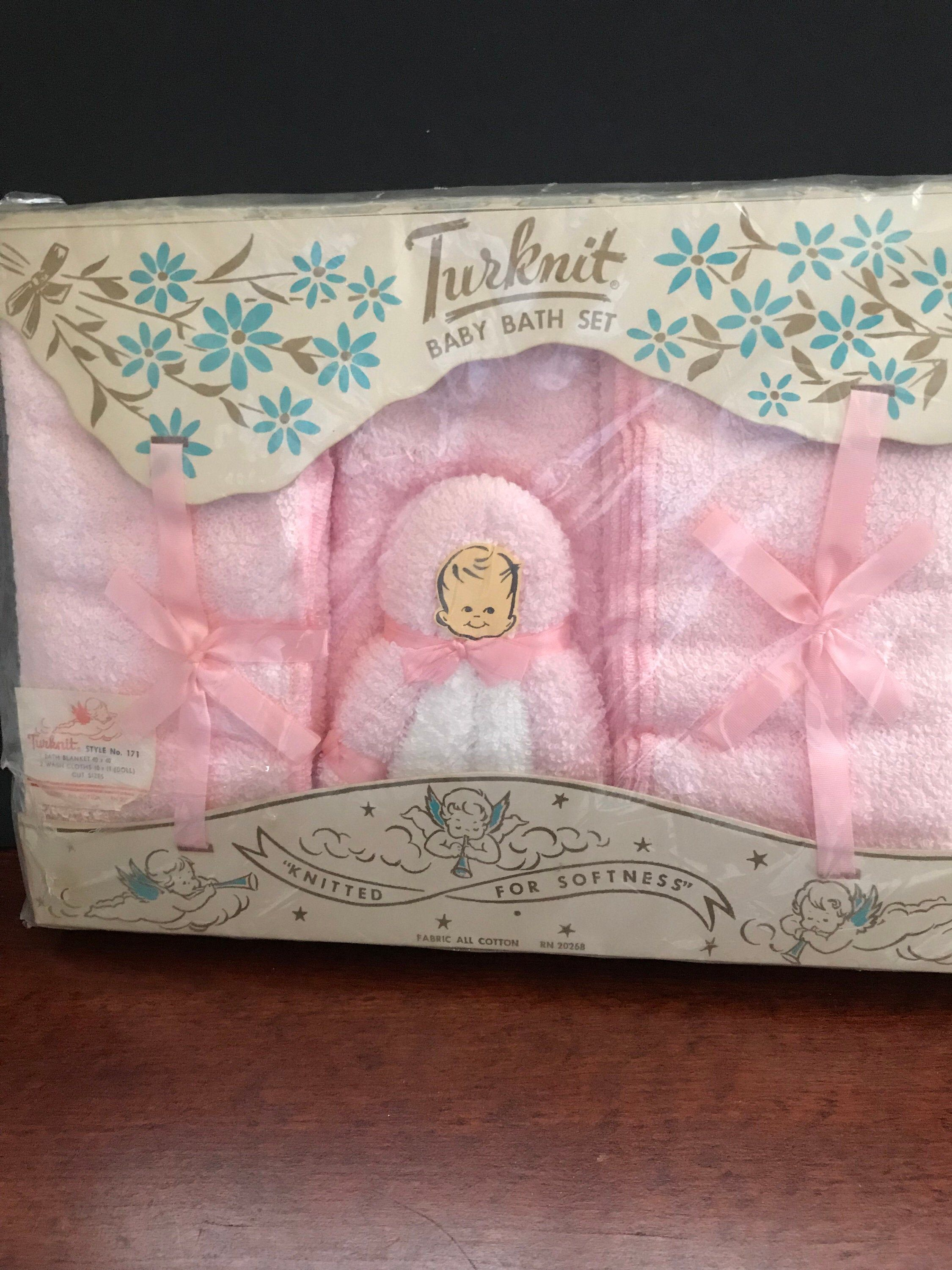 Vintage Turknit Baby Towel And Washcloth Gift Set Baby Towel Baby Washcloth Gifts