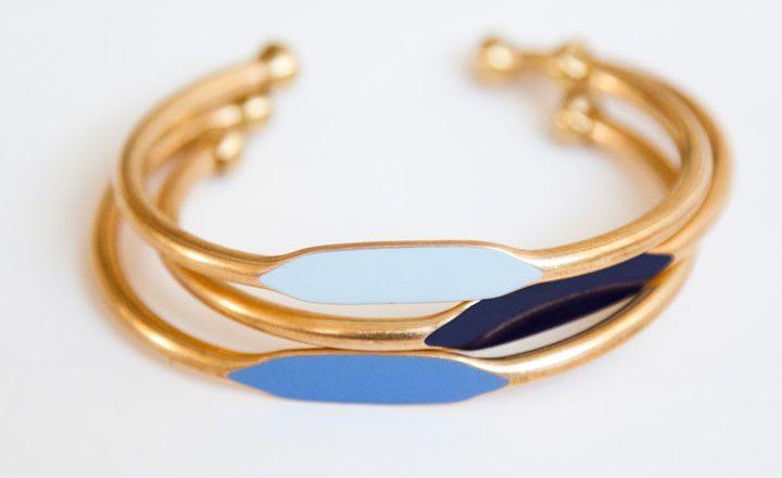 Blue trio bracelets.