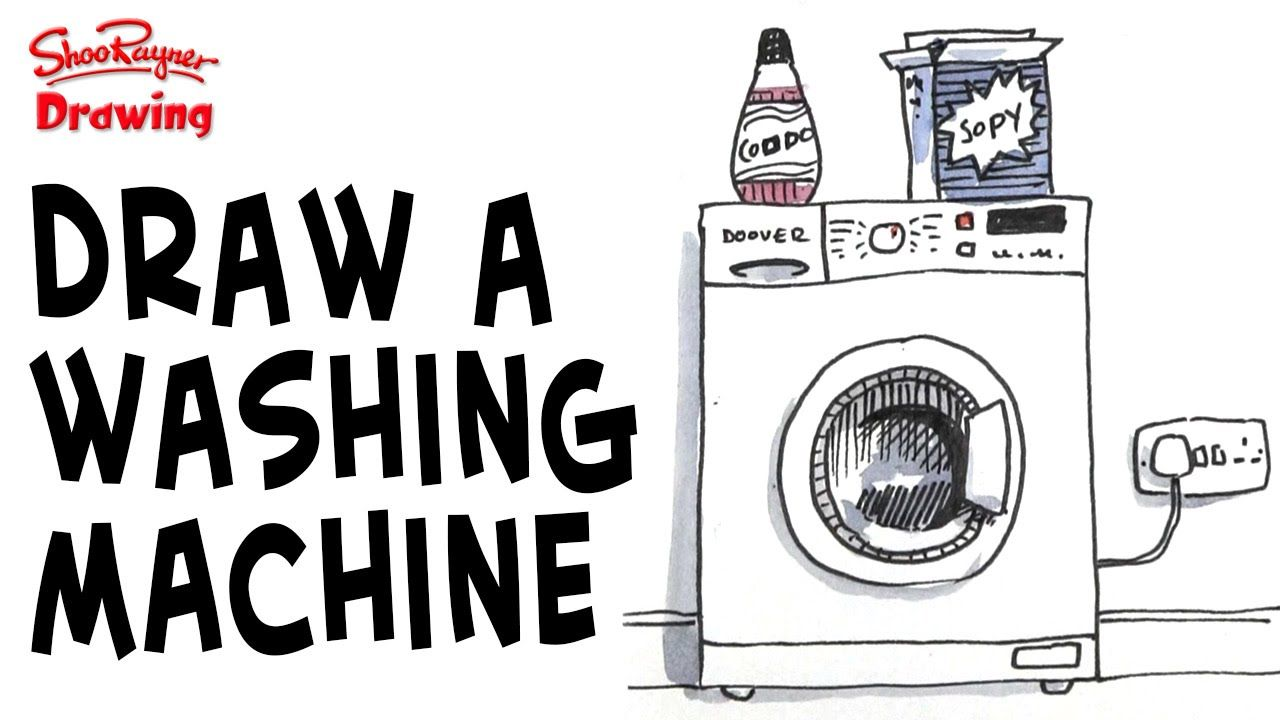How To Draw A Washing Machine Washing Machine Drawings Graphic