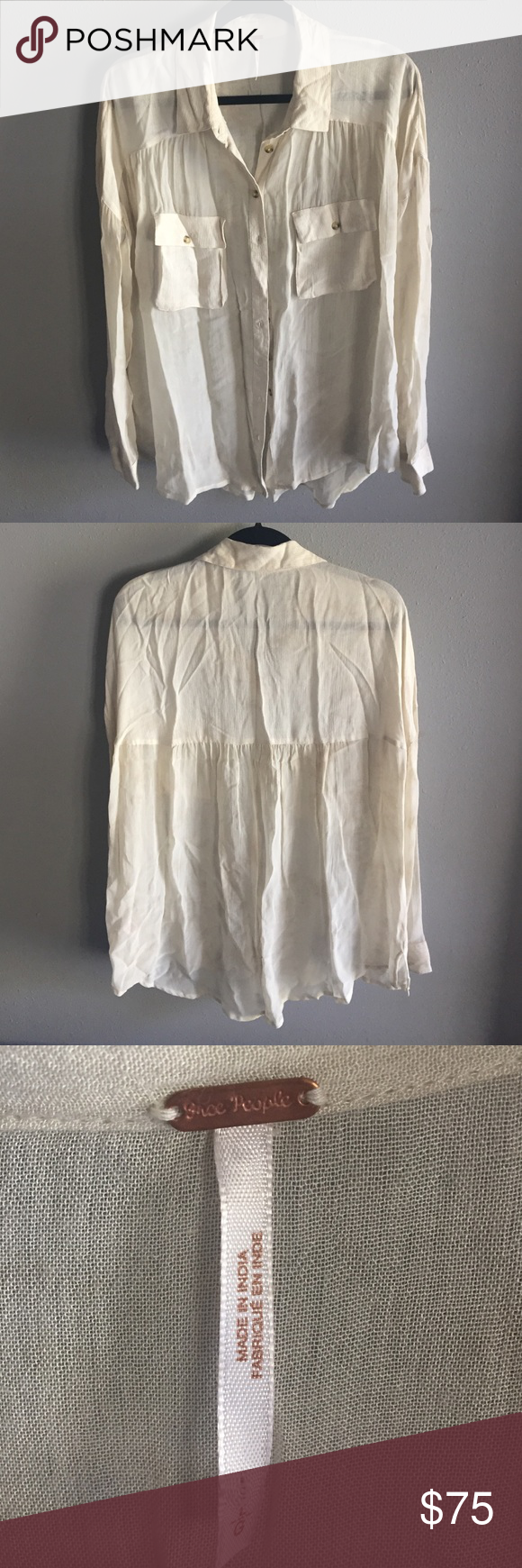 Free People Sheer Long Sleeve Button Up Shirt This sheer, button-up is NWOT and a great piece to add to your closet! Versatile and easy to throw on with a cute bralette, your favorite jeans and a pair of booties. Free People Tops Button Down Shirts