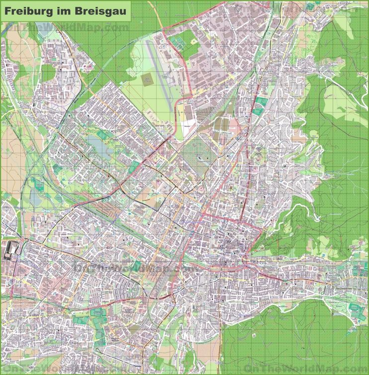 Large detailed map of Freiburg Maps Pinterest Freiburg and City