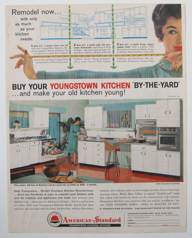 1950s Kitchen, Vintage Youngstown Cabinet Magazine Advertisement ...