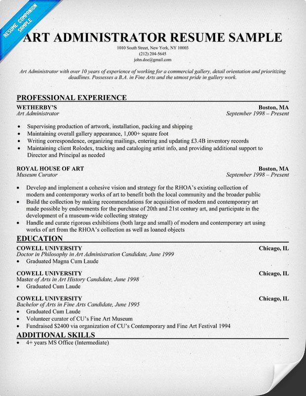 free art administrator resume example resumecompanioncom - Artist Resume Sample