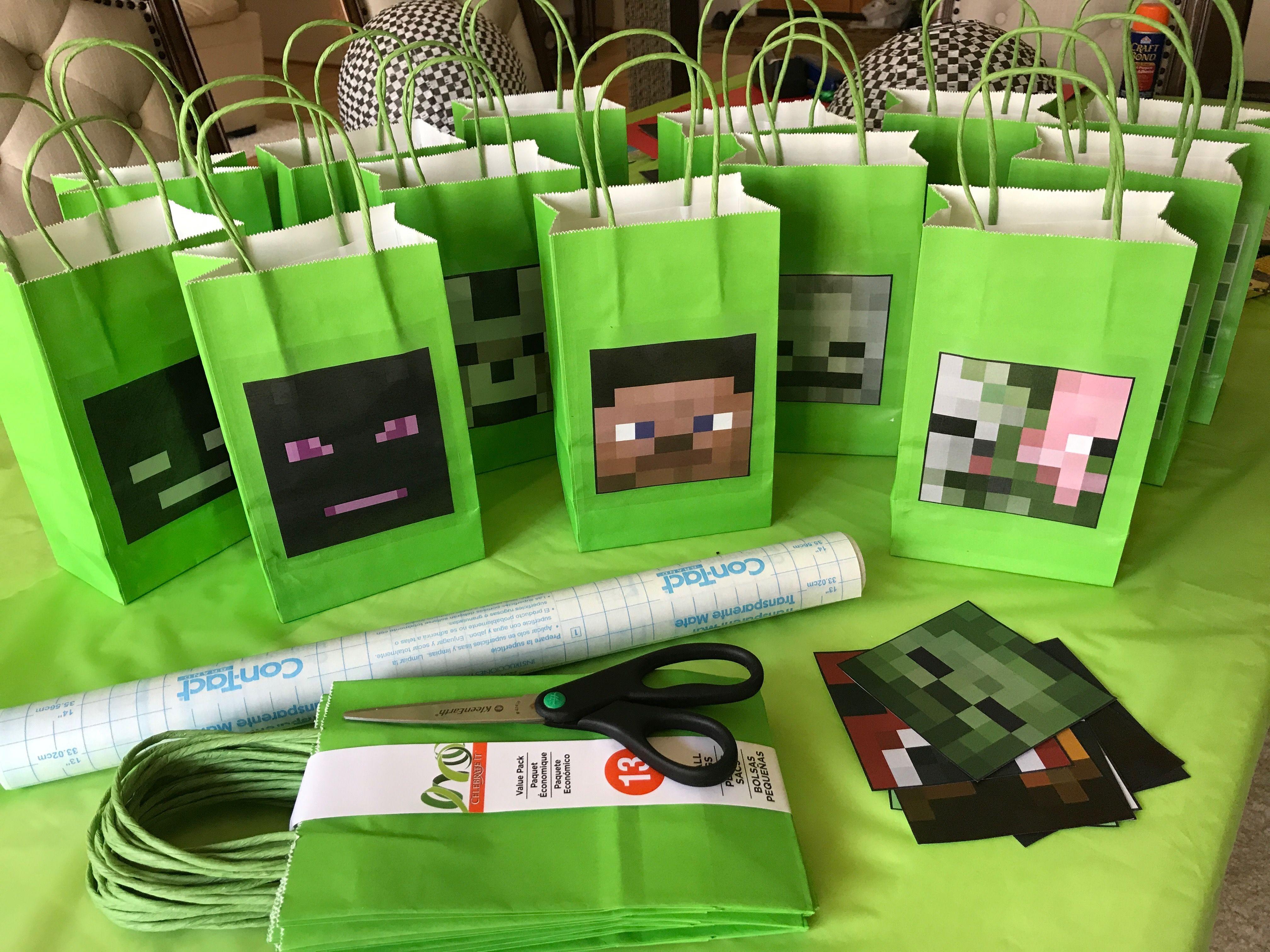 Easy minecraft diy favor bags favors diy favor bags