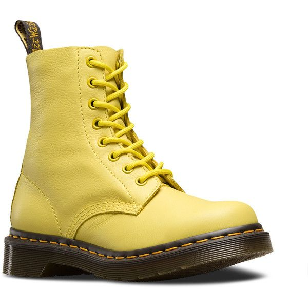 Dr. Martens Pascal Lace-Up Combat Boot (€125) ❤ liked on Polyvore featuring shoes, boots, wild yellow, laced boots, lace up shoes, laced combat boots, army boots and laced up boots