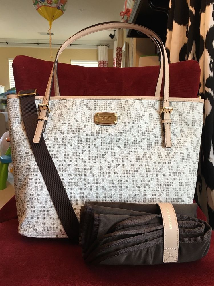 NWT MICHAEL MICHAEL KORS PVC JET SET DIAPER TOTE BAG IN VANILLA in  Clothing 70b4d923ab