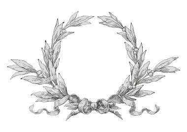 Laurel Wreath With Bow Laurel Wreath Wreath Illustration Wreath Drawing