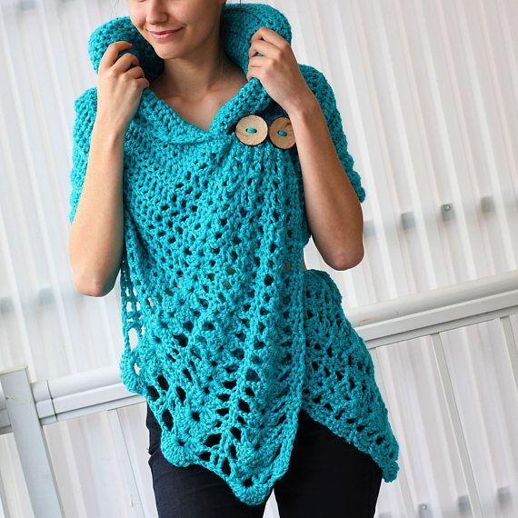 Crochet pattern, Women crochet pattern, Crochet wrap pattern, Patron ...
