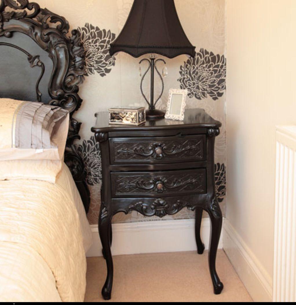 Black Rococo Night Stands Shabby Chic Furniture Black And White Furniture Diy Furniture Renovation