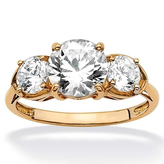 10k Yellow Gold Cubic Zirconia 3 Stone Bridal Ring White Classic Engagement Rings Sterling Silver Jewelry Jewelry