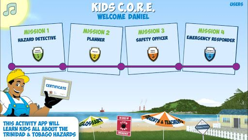 Kids C.O.R.E. is an educational app with fun games and animations to learn everything about the Hazards in Trinidad & Tobago. Your child will be a hazards detective, a planner, a safety officer and an emergency responder.<br>Handy Andy will guide your chi