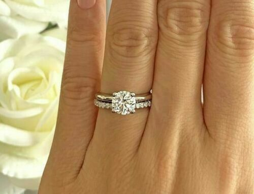 Round Moissanite Diamond Band,Engagement Band Details about  /Half Eternity Wedding Silver Band