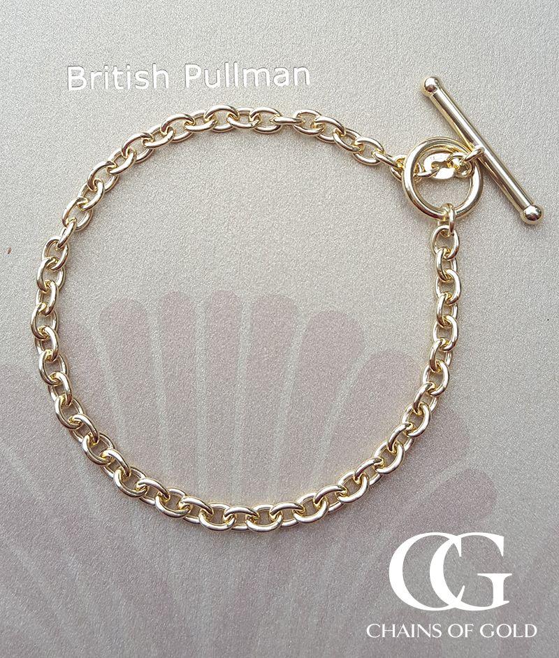 9ct Yellow Gold Oval Belcher T Bar Bracelet 7 Beautiful