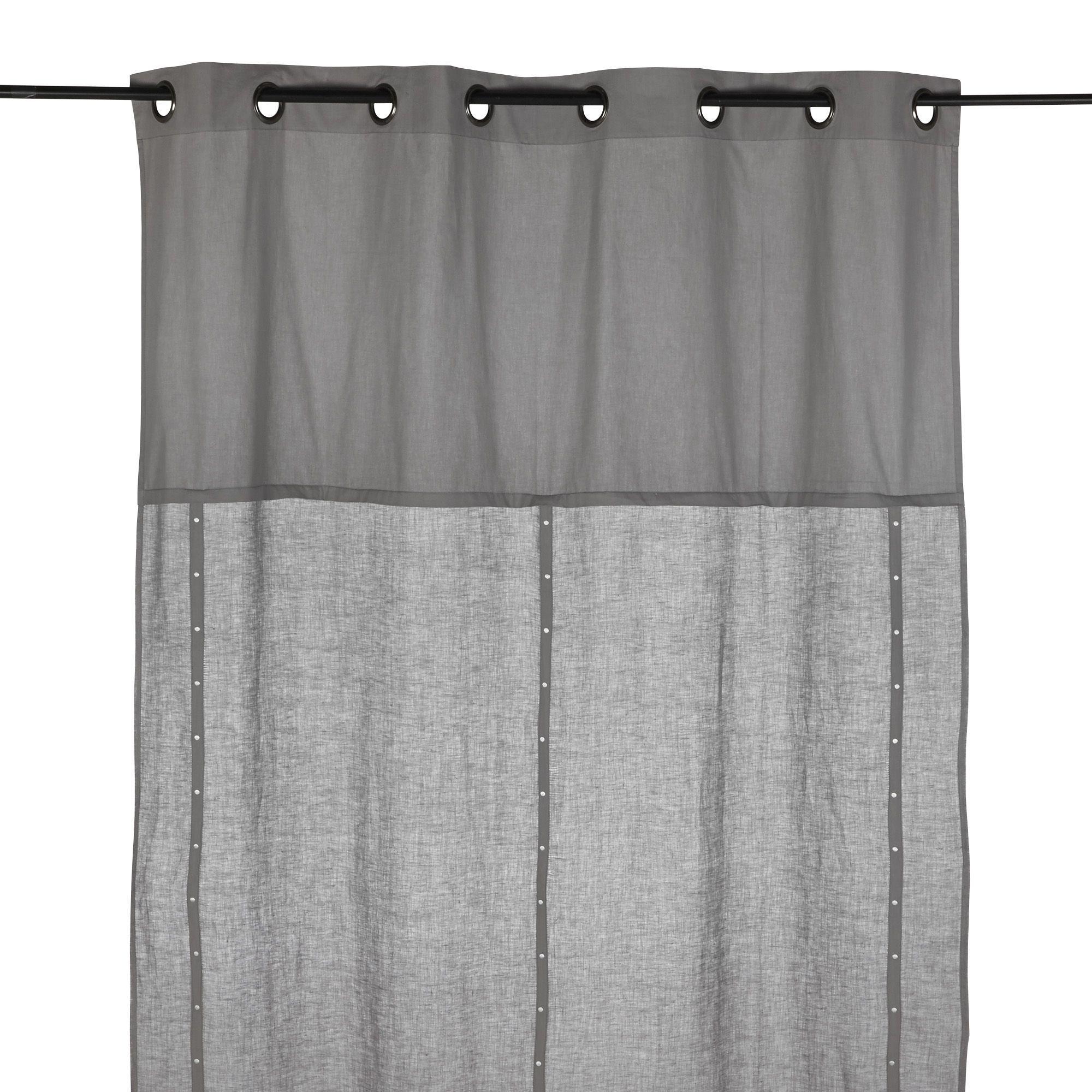Rideau à œillets en lin et coton couleur gris Gris - Plumetis ...