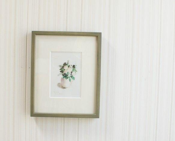 ミントとバラがモチーフです。額縁つき水彩画サイズ絵14cm×9.5cm額縁22cm×27cm×2cm額縁はガラス入りのオリ... ハンドメイド、手作り、手仕事品の通販・販売・購入ならCreema。